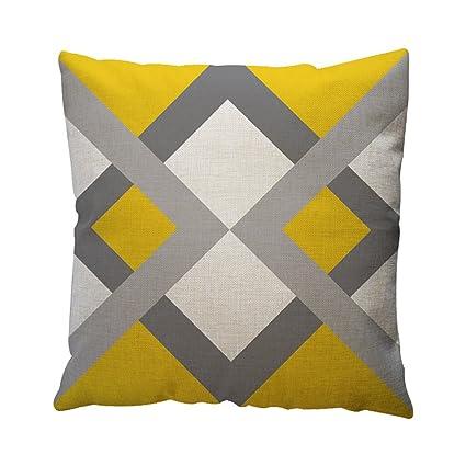 ¡Descuento! Viahwyt - Funda de cojín Cuadrada geométrica, 45 x 45 cm, Color Amarillo y Gris, G, 45cm*45cm/18