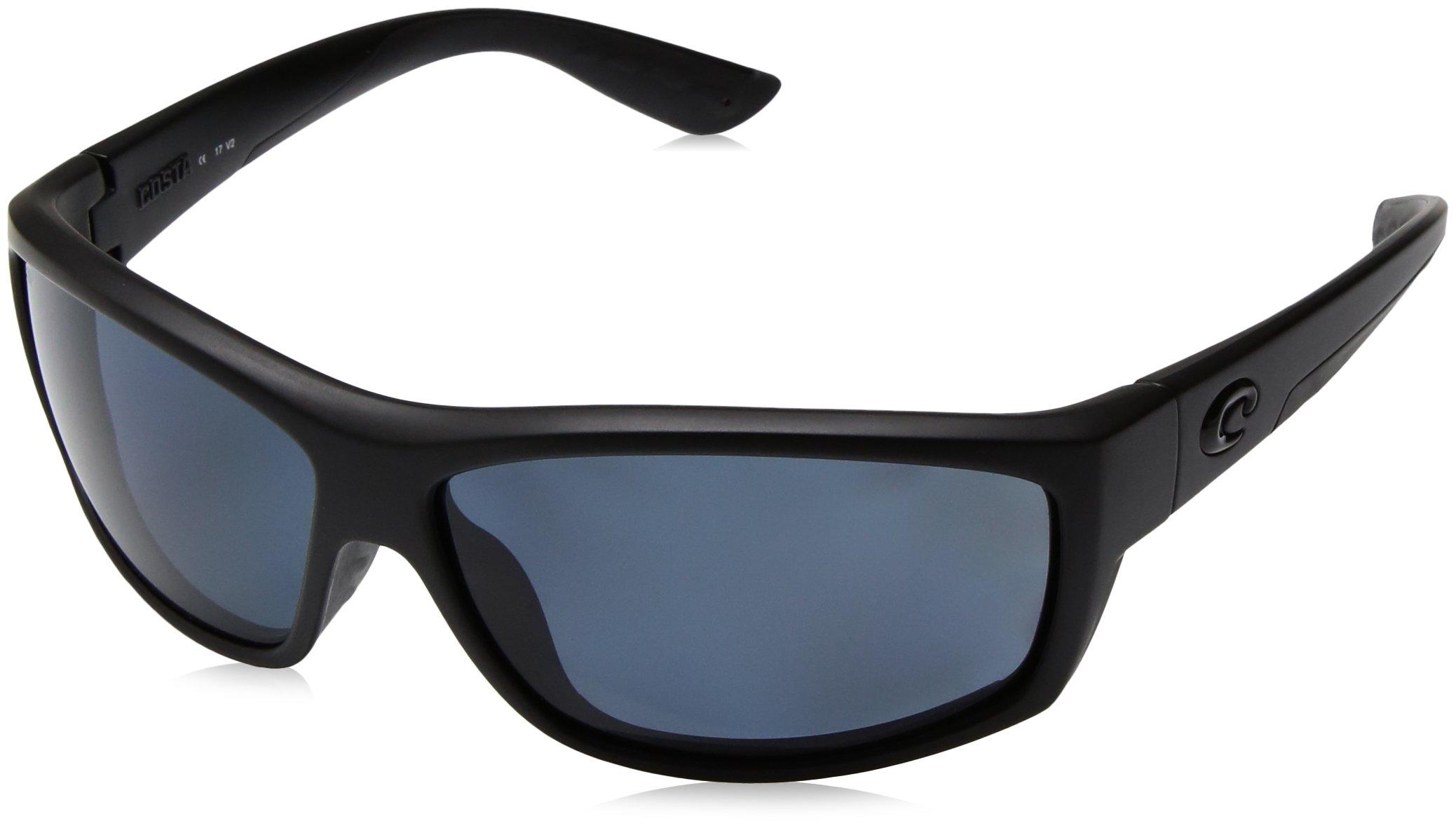 Costa del Mar Men's Saltbreak Polarized Iridium Oval Sunglasses, Blackout/Blue Mirror, 64.6 mm