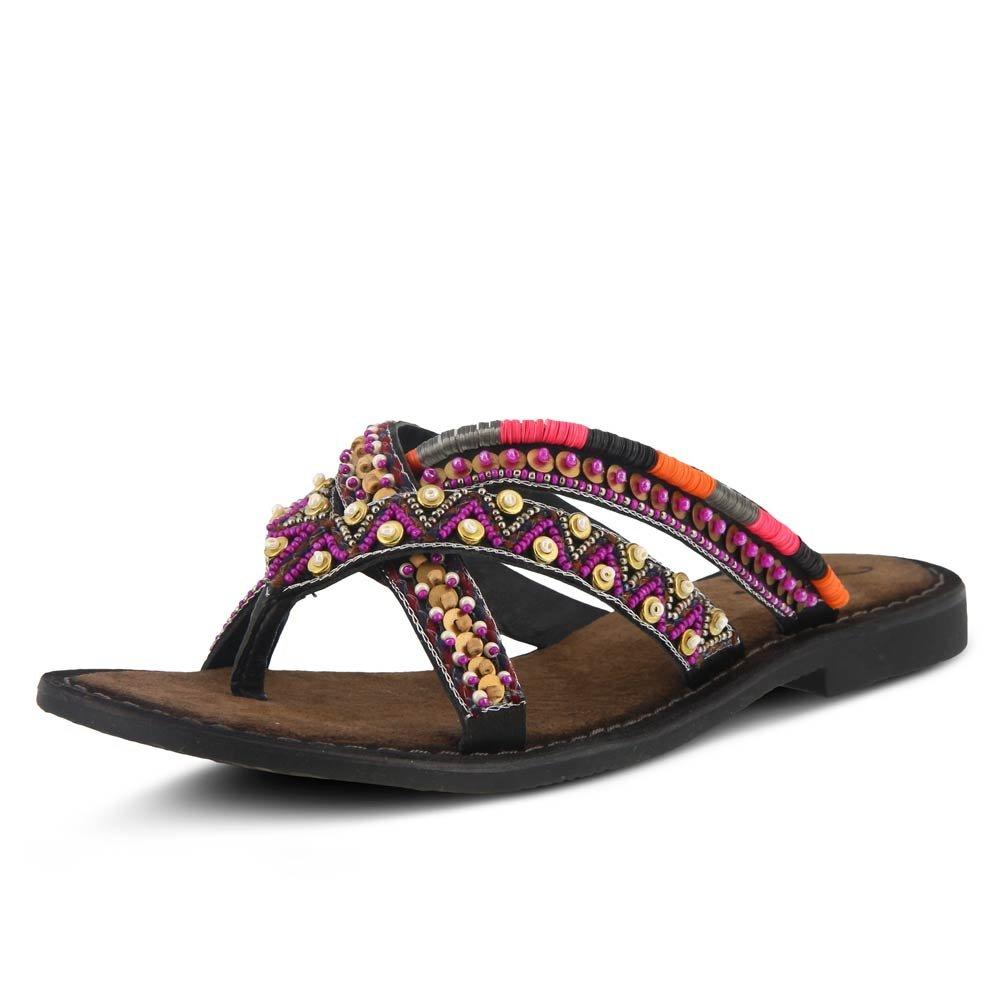 Azura by Spring Step Women's Triage Flat Sandal B079QDDF48 40 M EU (US 9 US)|Black/Multi