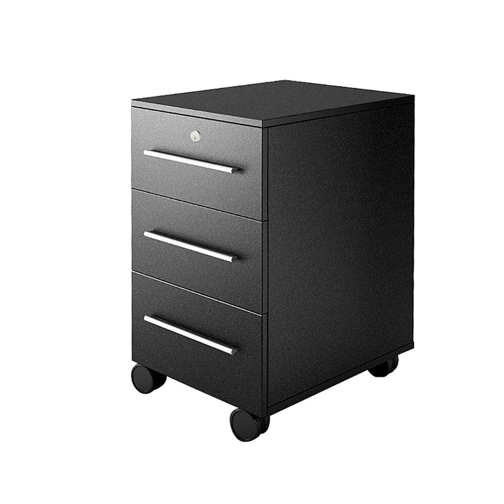 RRH-File Cabinet, Lock File Cabinet, 3-Layer Drawer Mobile Office Cabinet File Cabinet, Commercial Storage Cabinet, Fully Assembled Except Casters, for Office (Color : Black) by RRH