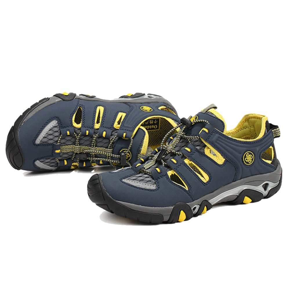 YIWANGO Leder Sommer Herren Wasser Schuhe Leder YIWANGO Mesh Quick Dry Kletterschuhe Outdoor Trekking Wandern Turnschuhe Sportschuh Blau edba43