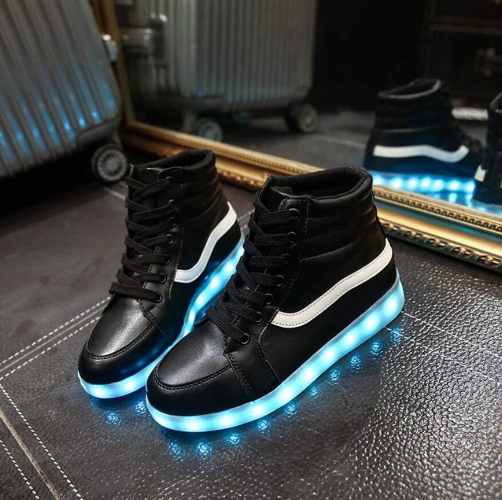 MhC Herren/Damenschuhe Kunstleder LED Schuhe Frühling/Herbst Leuchten Schuhe Flache Ferse Lace-up Weiß/Schwarz