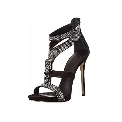 b7bc47208 XDGG Women s Stiletto Heel Sandals High-Heeled Rhinestone Fashion Shoes  Belt Buckle Party Banquet Large