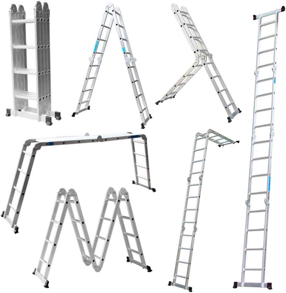 Escalera Mctech®, 6 en 1, de aluminio, telescópica, 340/470 cm, multiusos, con articulaciones regulables, para andamio de trabajo, 4X4 Stufen mit plattform: Amazon.es: Deportes y aire libre