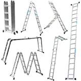 MCTECH Scala telescopica 6in 1, 340/470cm, multiuso, in alluminio, scala regolabile, 4X4 Stufen mit plattform