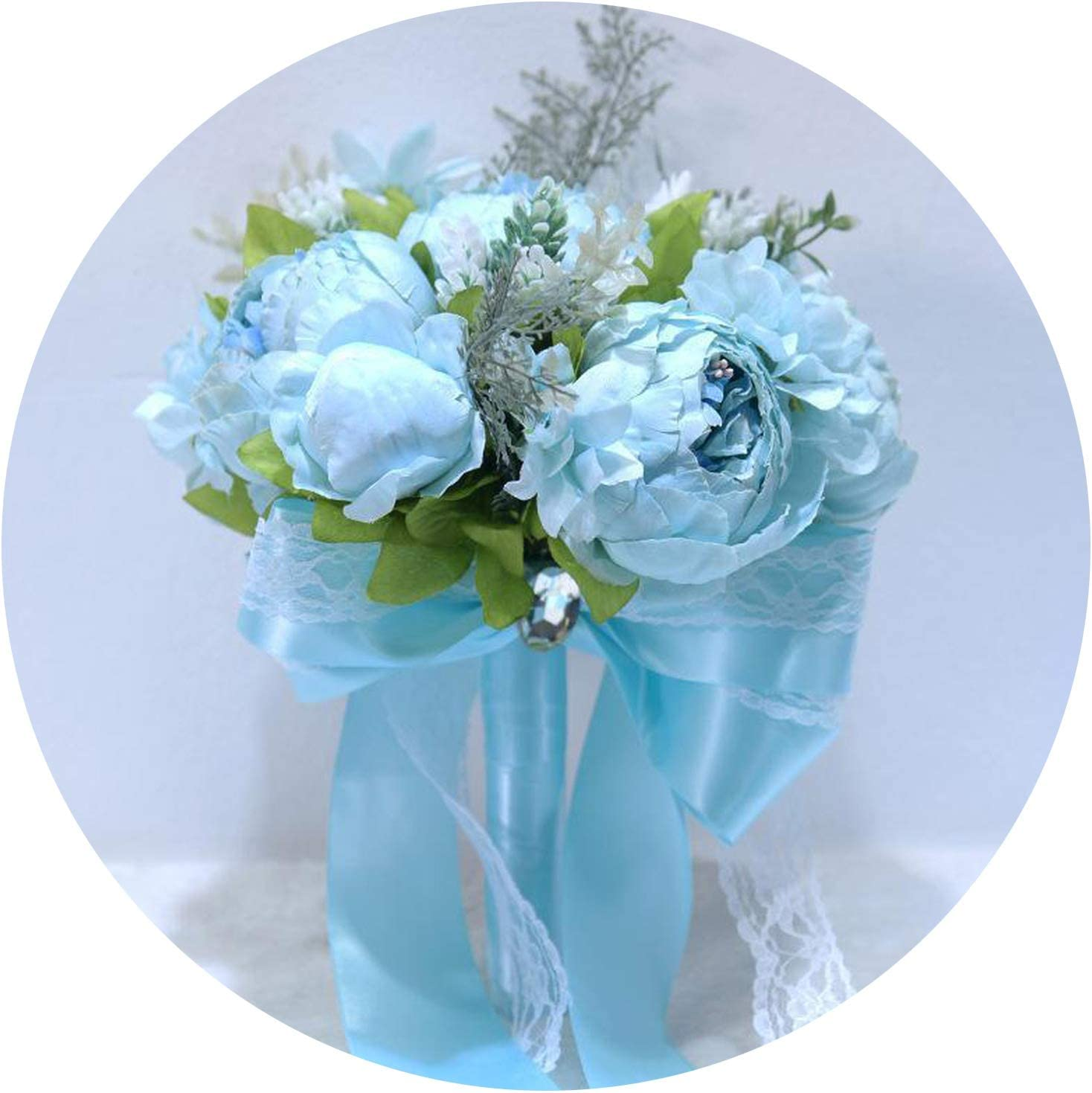 Amazon Com Jhdnhse White Bridal Bouquets Peonies Blue Wedding