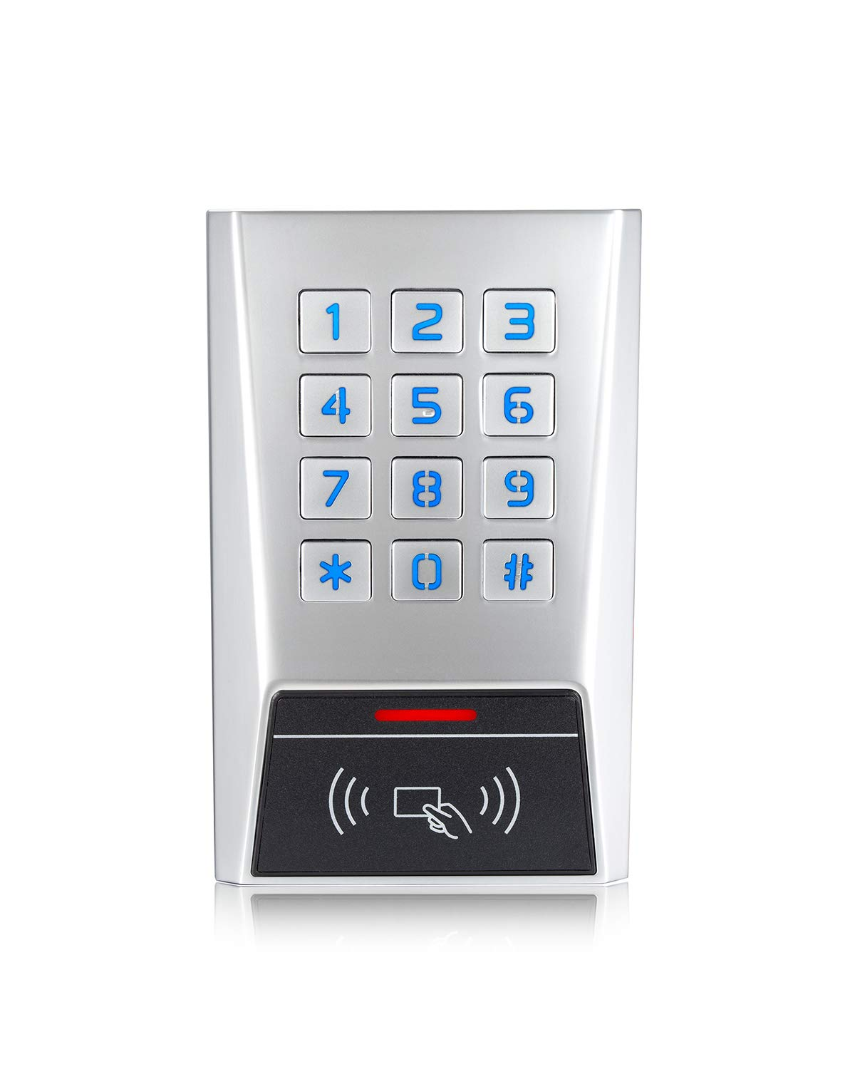 RFID Access Control Stand-Alone Keypad for Single Door Longwo BK2-EH Metal Housing Waterproof Outdoor and Indoor Wiegand Reader 26~37 Bits 1010 Users with a 10 Pack of Proximity Cards by LONGWO