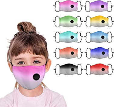 4PCS Reusable Kids Face Bandanas with Breathing Valve Baby Dustproof Washable Cotton Mouth Shields Purple+Black+Red+Pink