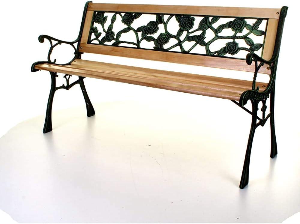 Tres plazas de asiento exterior de madera cruz rosa parque banco de jardín, las piernas de hierro fundido,Black