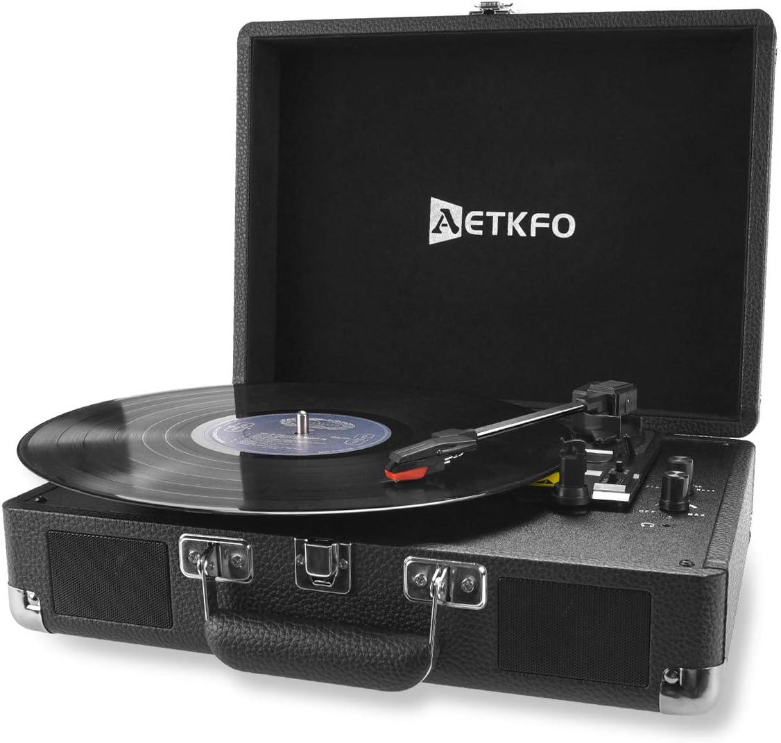 AETKFO Tocadiscos de Vinilo, Tocadiscos Bluetooth con Altavoces,Tocadiscos Vinilo Vintage,Tocadiscos Estéreo,Reproductor de Vinilo,3 Velocidades 33/45/78 RPM,Salida RCA/Conector para Auriculares/USB