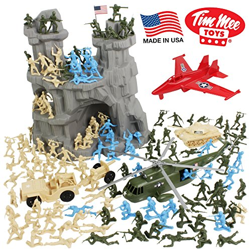 Toy Story Bucket (TimMee BATTLE MOUNTAIN Plastic Army Men Playset - Tan & Green 130pc - Made in USA)