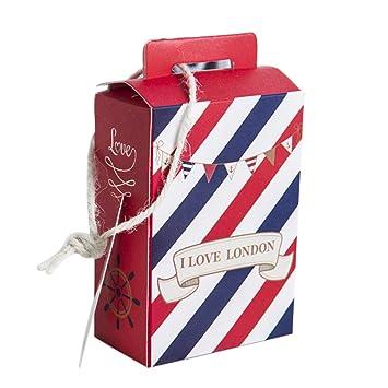 50 piezas cajas cartón portaconfetti con manga etiqueta forma Maleta Londres ROSSO E BLU: Amazon.es: Hogar
