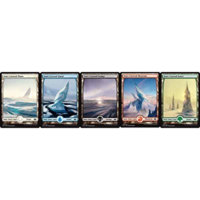 Magic: the Gathering Modern Horizons Common Full Art Snow-Covered Land Set (1 Each of 5): Toys & Games