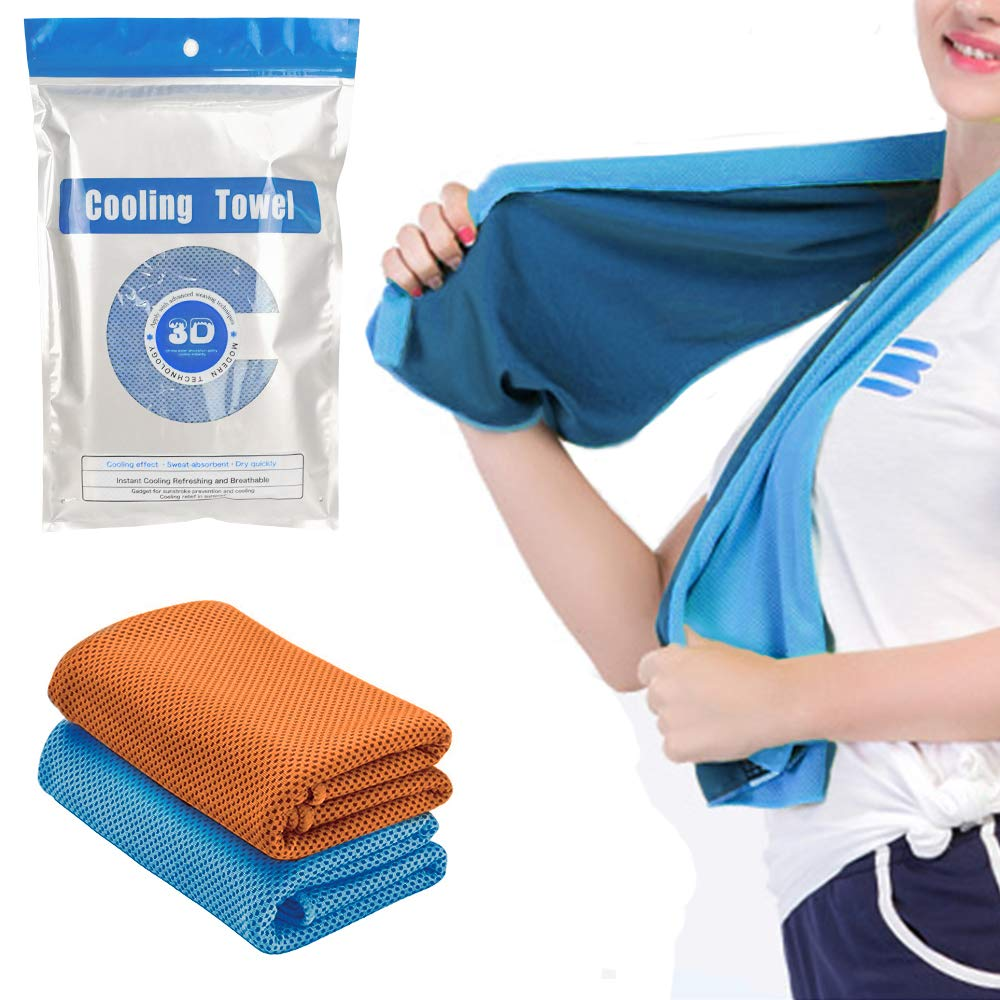 SUNTAPOWER Cooling Towel 2PCS, Cooling Scarf Instant Cooling Headband Wristband Bandana Soft Cool Bamboo Fiber Sports, Fitness, Gym & Yoga,Tennis, Gym, Hiking & Running etc Plastic Bag