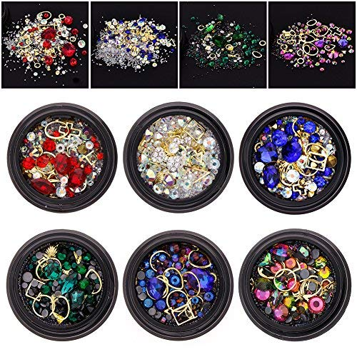 (6 Wheels Mixed Nail Art Rhinestones Diamonds Crystals Beads Gems for DIY Decor (01#))