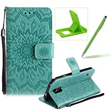 Wallet Case for Samsung Galaxy S5,Strap Flip Case for Samsung Galaxy S5,Herzzer Retro Elegant [Green Mandala Flower Pattern] Stand Function Magnetic Smart Leather Case with Soft Inner for Samsung Galaxy S5 + 1 x Free Green Cellphone Kickstand + 1 x Free Green Stylus Pen