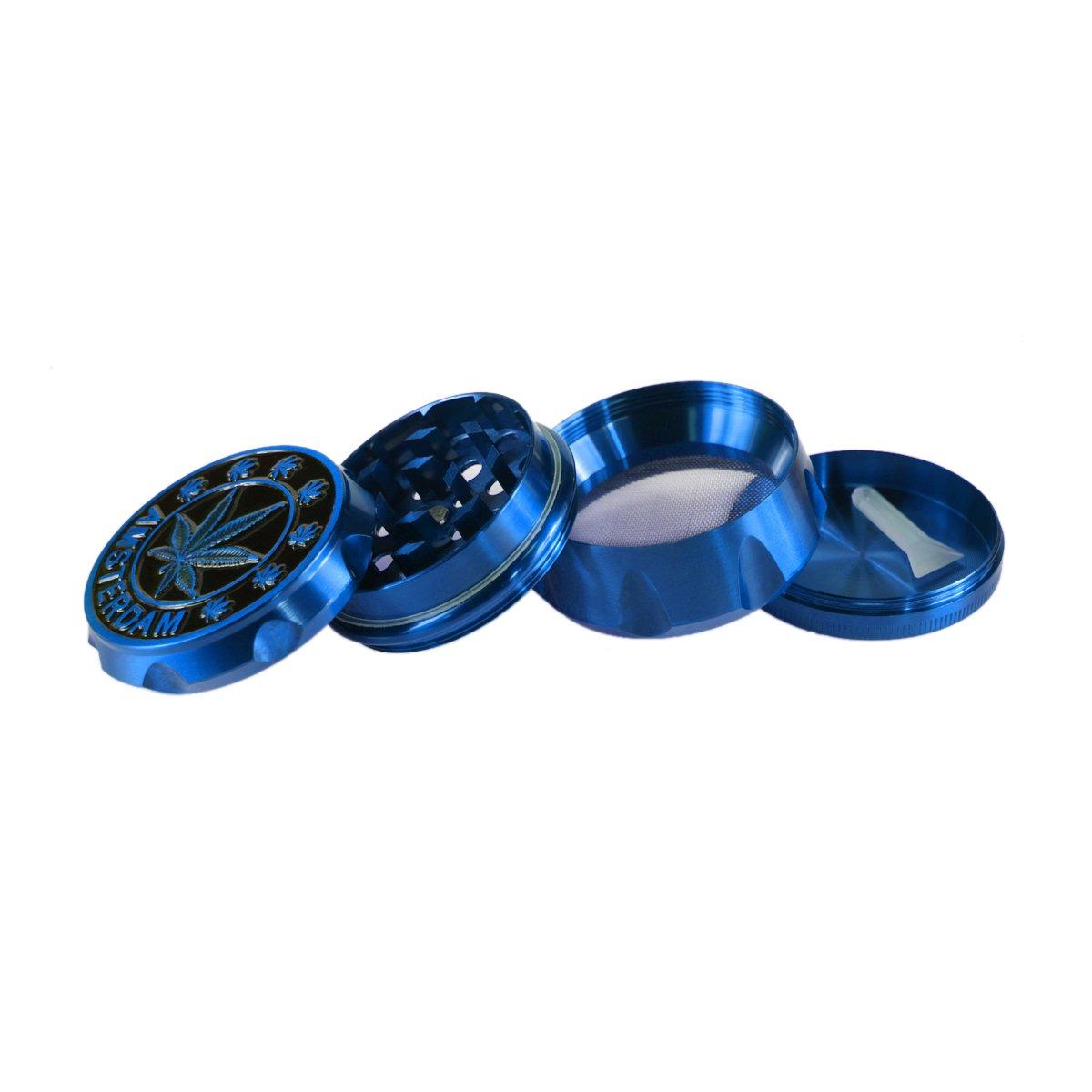FORMAX420 Herb Grinder 50mm 2 Zoll 4 St/ück mit Pollenf/änger Blue