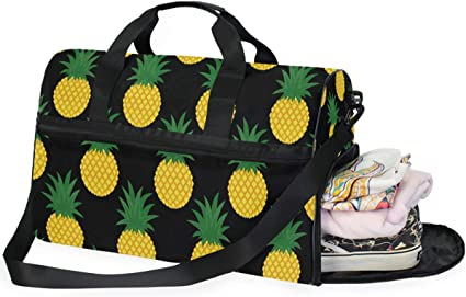 Pineapples Sports Gym Bag with Shoes Compartment Travel Duffel Bag for Men and Women