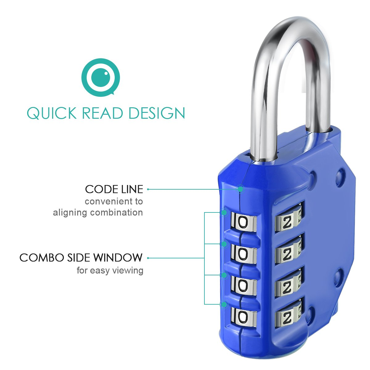 ORIA Combination Lock, 4 Digit Combination Padlock, Metal and Plated Steel Material for School, Employee, Gym or Sports Locker, Case, Toolbox, Fence, Hasp Cabinet and Storage, Pack of 2 (Blue) by ORIA (Image #4)