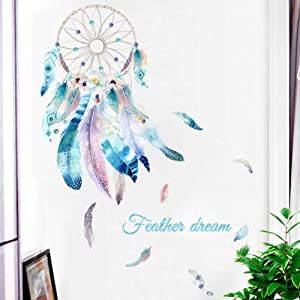 Dream Catcher Feather Wall Mural Decal Wall Decals Peel and Stick Vinyl Art Wall Stickers for Living Room Girls Women Bedroom Kids Rooms School Home Decor
