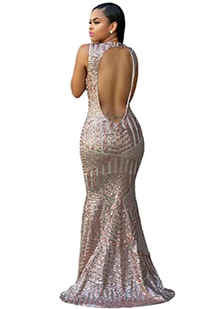 New gold sequin and mesh long evening dress prom dress cocktail dress party wear gown dress