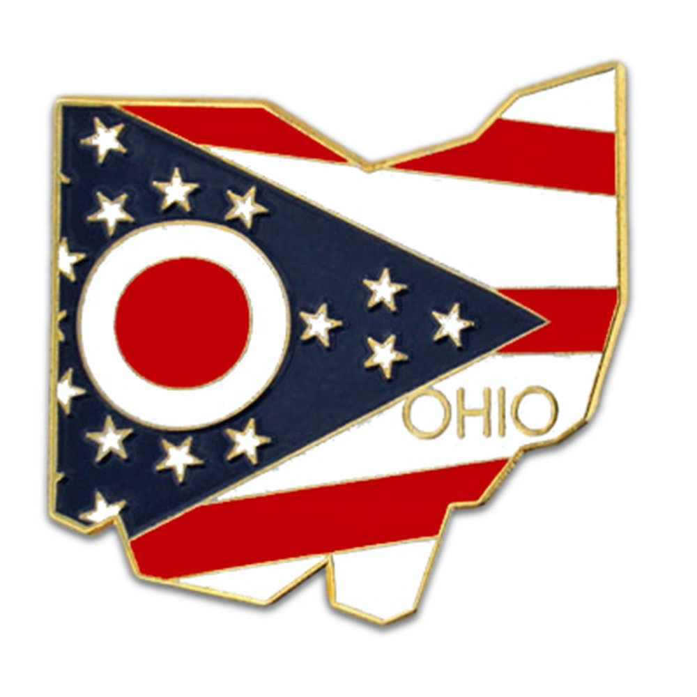 PinMart State Shape of Ohio and Ohio Flag Lapel Pin