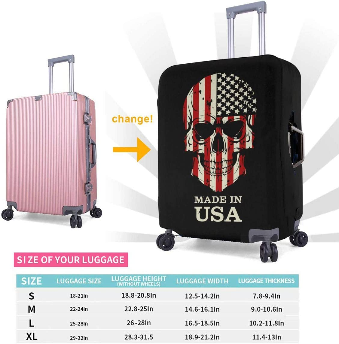 American Skull Flag Patriotic Elastic Travel Luggage Cover,Double Print Fashion Washable Suitcase Protective Cover Fits 18-32inch Luggage