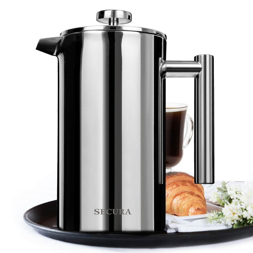 Secura 1500ML French Press Professional Rust Proof Coffee Maker 18/10 Bonus Stainless Steel Screen 2 Year Warranty SFP-50DS-2Y