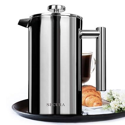 Secura 1500ML francés prensa profesional a prueba de herrumbre cafetera 18/10 bonificación pantalla de