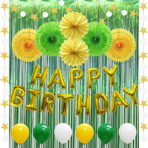 Happy 80th Birthday Balloons (Gold Happy Birthday Balloons Banner Decorations, Yellow Green White Party Balloons, Hanging Paper Fans, Foil Fringe Curtain, String Hanging Star and Circle Dot)