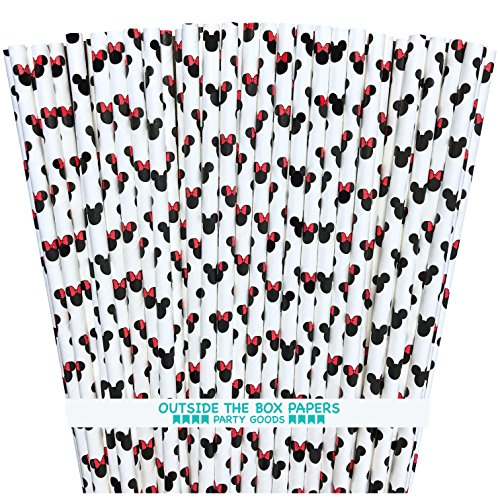 (Mickey and Minnie Mouse Inspired Paper Straws - Mouse Ears Pattern - Black Red White - 7.75 Inches - 100 Pack - Outside the Box Papers Brand)