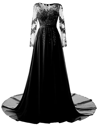 Kevins Bridal Long Evening Gown 2017 Sheer Long Sleeves Lace A line Prom Dresses Black Size