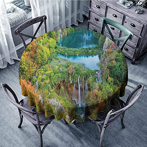 ScottDecor Garden Round Tablecloth Fabric Tablecloth Fall,Scenic Fall Valley in The Mountains of Plitvice Lakes National Park Croatia, Green Blue Orange Diameter 70