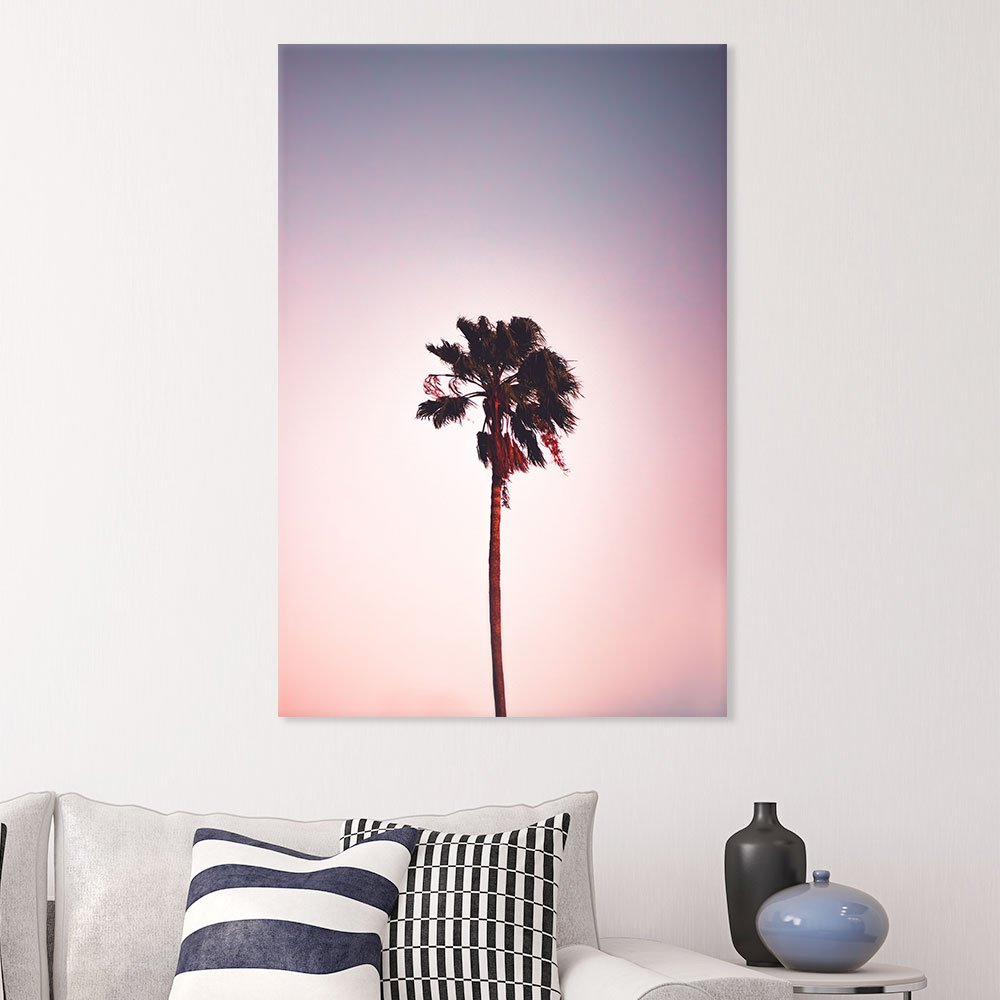 Canvas Wall Art - Romantic View of Lone Tall Palm Tree - Giclee Print Gallery Wrap Modern Home Art Ready to Hang - 12x18 inches