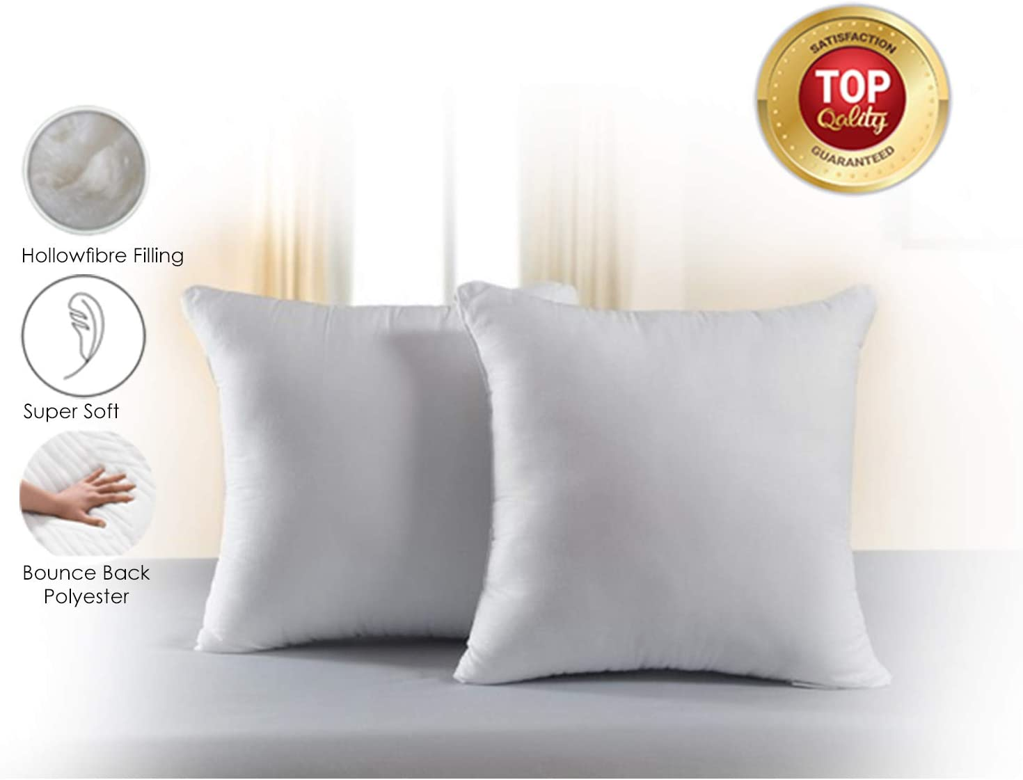 14 x 14 Classic Home Store Cushion Pads with Hollow Fibre Filling /& Cotton Cover Scatter Cushions Inner Insert