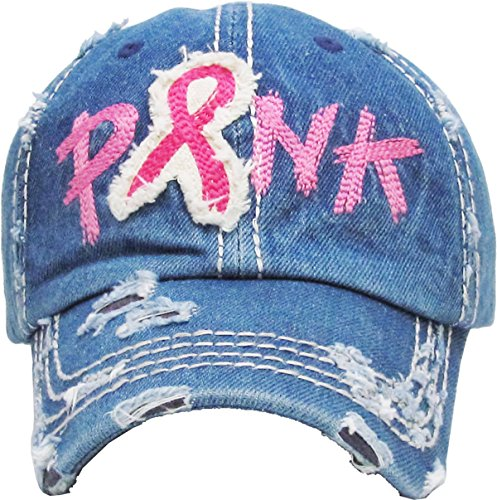 Funky Junque H-208-73 Breast Cancer Ribbon Baseball Cap - Shredded - Race Breast Size By