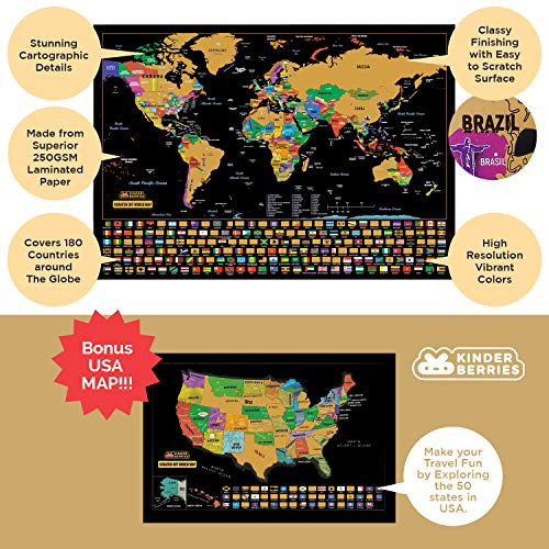 Scratch Off Map Of The World / United States USA , Scratchable Travel Wall Art , Large World Map Poster , Travel Tracker w/ US State & Country Flags – Memory Stickers , Magnifier & Scratch Art Tool by KinderBerries (Image #1)