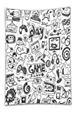 Beshowereb Fleece Throw Blanket Video Game Set Black and White Sketch Style Gaming Design Racing Monitor Device Gadget Fabric Bathroom Decor with Hook Long Blak White.jpg