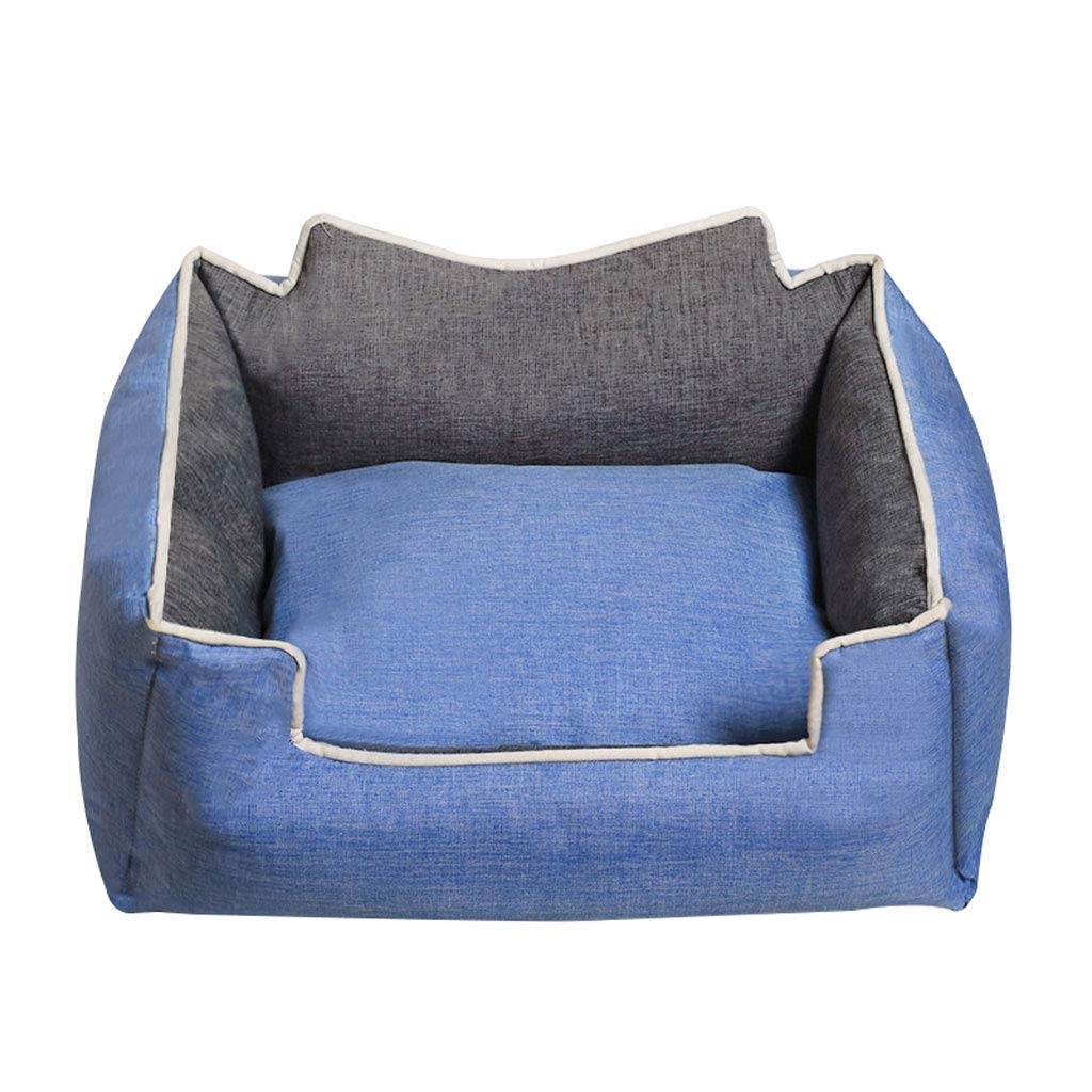 bluee MediumMSchunou Healthy and comfortable breathable four seasons universal cat kennel pet supplies, winter washable thickening pet nest cat litter dog bed pet mat (color   bluee, Size   M)