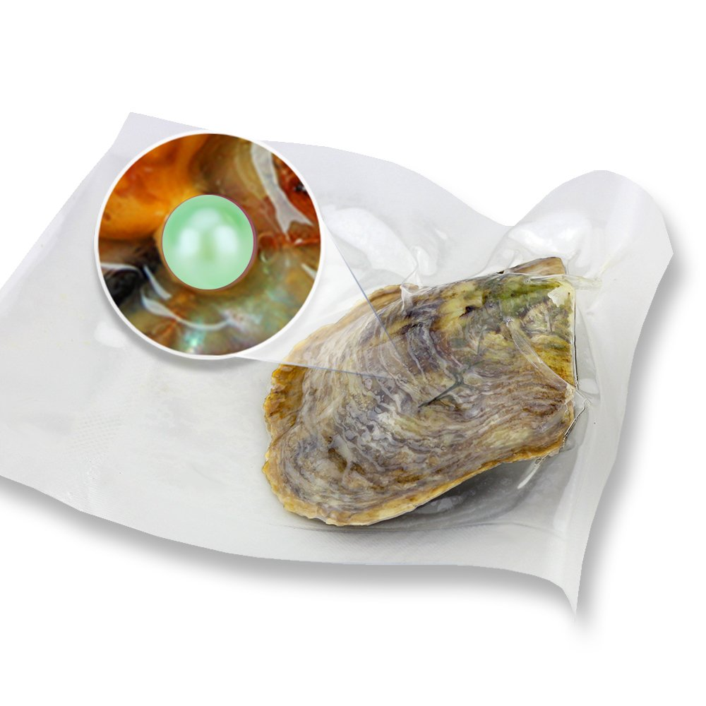 Lime Green 30pcs 6-7mm Akoya Round Cultured Pearl Oyster Individual Vacuum Bag