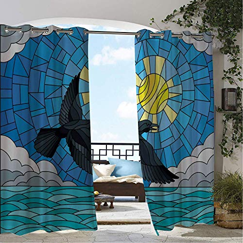 Linhomedecor Patio Waterproof Curtain Crow Illustration in Stained Glass Style Crow on The Background of Sky Sun Clouds and Water Multicolor pergola Grommets Cabana Curtains 84 by 84 - Gators Florida Glass Stained