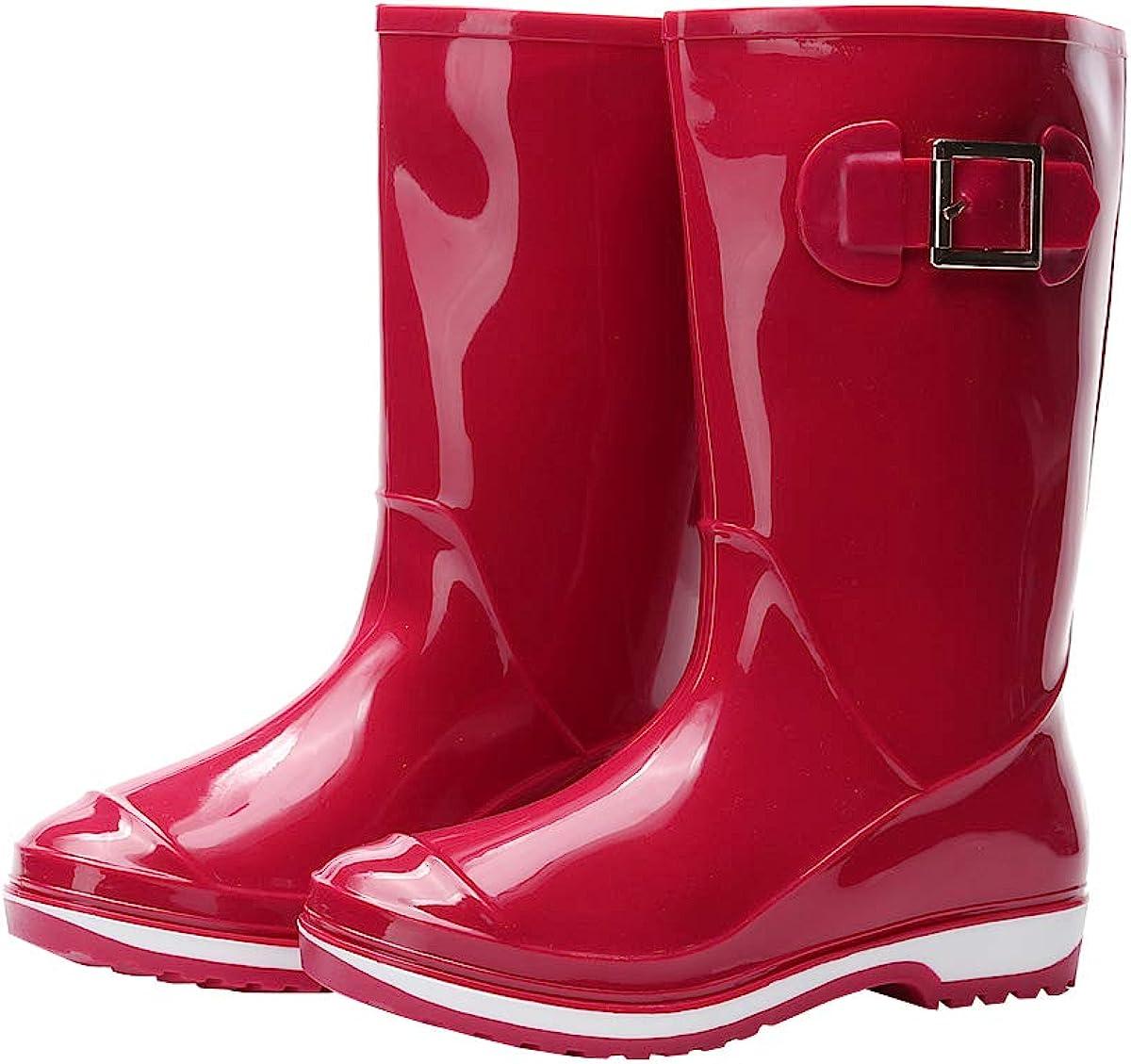 Kontai Women Half Calf Rubber Rainboots Waterproof Rubber for Garden Women rain Footwear