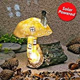 Garden Glows Solar Powered LED Fairy House Mushroom Ornament Berry Iceleaf