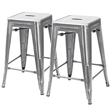 Furmax 24u0027u0027 High Metal Stools Backless Silver Metal Bar Stools  Indoor Outdoor Use