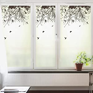 DKTIE Static Cling Decorative Window Film Vinyl Non Adhesive Privacy Film,Stained Glass Window Film for Bathroom Shower Door 35.4In by 47.2In