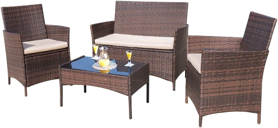 Amazon Com Homall 4 Pieces Outdoor Patio Furniture Sets Rattan Chair Wicker Set Outdoor Indoor Use Backyard Porch Garden Poolside Balcony Furniture Sets Clearance Brown And Beige Furniture Decor
