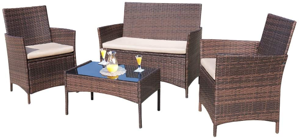 Homall 4 Pieces Outdoor Patio Furniture Sets Rattan Chair Wicker Set, Outdoor Indoor Use Backyard Porch Garden Poolside Balcony Furniture Sets (Brown and Beige) : Garden & Outdoor