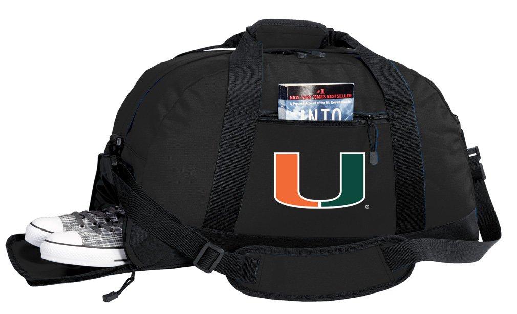 Broad Bay NCAA University of Miami Duffel Bag - Miami Canes Gym Bags w/SHOE POCKET