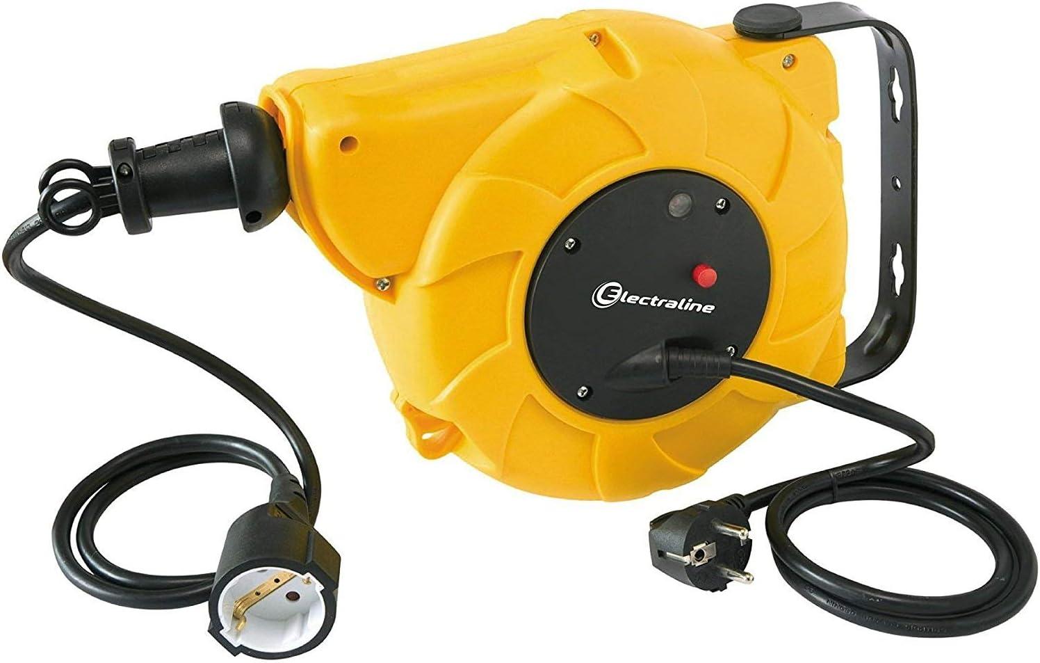 Electraline 100236 Enrollacables eléctrico automático a Resorte con alargador (10 m, 250 V), Amarillo, 8 m
