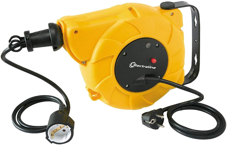 8+2 mt Kabel, f/ür Wand-und Deckenmontage gelb Electraline 100236 Kabeltrommel//Automatischer Kabelaufroller 10